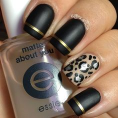 matte black with striping tape and a leopard accent - juxtaposed 'metal' use between the gold tape and the silver in the leopard Get Nails, Matte Nails, Love Nails, How To Do Nails, Hair And Nails, Black Nails, Matte Black, Black Gold, Fabulous Nails