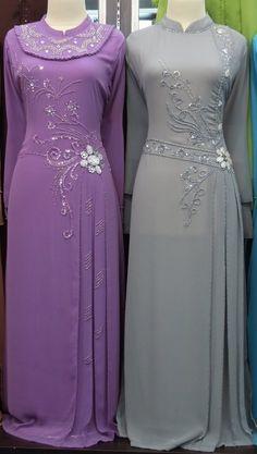 Purple Grey Muslim Women Dresses - http://ikuzolady.com/purple-grey-muslim-women-dresses/