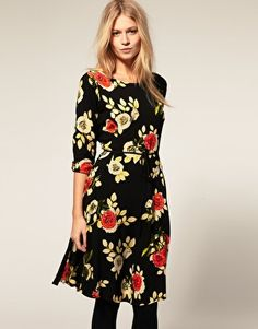 Motel Indiana Silhouette Rose Chiffon Knee Dress