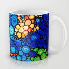 Pure Koi Joi - Mosaic Fish Art Painting by Sharon Cummings Mug by Sharon Cummings - $15.00