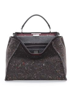 Peekaboo Large Felt & Shearling Tote Bag, Gray Multi by Fendi at Neiman Marcus.