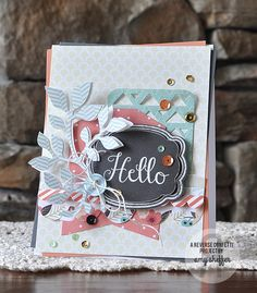 Card by Amy Sheffer. Reverse Confetti stamp set: In a Big Way. Confetti Cuts: Tag Me, Give Thanks Label, Double Edge Scallop Border and Pretty Panels Triangles. Friendship card. Encouragement card.