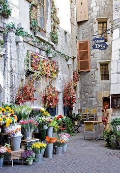 Le vieux Necy,France.        Now with a little imagination you could create a corner on your porch to look like a french outdoor flower shop.