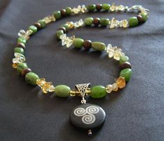 """Triskele Necklace with Jade and Citrine """"Celtic Beauty""""."""