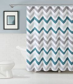 GoodGram® Chevron Cotton Fabric Shower Curtain - Assorted Colors (Aqua) What's Included: Shower Curtain Curtain Dimensions: 70 in. Wide x 72 in. Long Fabric Content: Cotton Care Instructions: Machine Washable Available Colors: Aqua, Yellow & Plum Chevron Curtains, Chevron Fabric, Colorful Curtains, Shower Curtain Sets, Bathroom Shower Curtains, Chevron Bathroom, Curtain Fabric, Fabric Shower Curtains, Colors