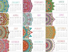 Calendario 2018 conjunto de dos Mandala Mini calendario