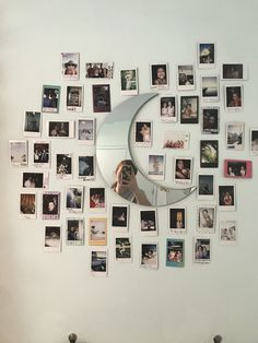 room makeover aesthetic moon mirror with photos polaroid wall mirror aesthetic room artsy Cute Room Ideas, Cute Room Decor, Teen Room Decor, Bedroom Decor, Bedroom Inspo, Bedroom Ideas, Photo Polaroid, Polaroid Wall, Polaroid Camera