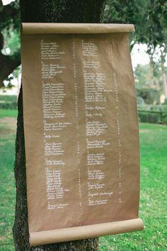 Nombres de los invitados en papel estraza