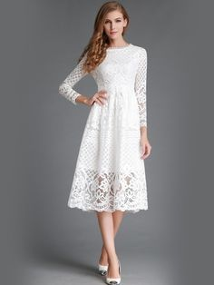 Floral Nine Points Sleeve Hollow Lace Dress #Dress #Lace #Women'sStyle