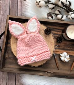 BABY (0-3 mo) Bunny Ear Hat Knit Bunny Hat for Baby Easter Rabbit Ear Beanie Pink  Bunny Ear Baby Hat Easter Photo Prop for Newborn Cute Hat 1404113ef741