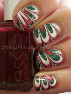 Christmas Water Marble Nails