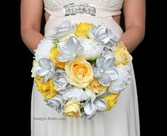 Yellow, White, Gray and Silver Wedding Flowers brides bouquet