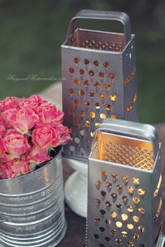 Kitchen tea light holders using food graters and flour sifters. vintage wedding table decor.