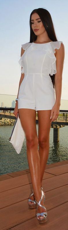 White Ruffles And Silver Wedges Outfit Idea