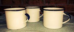 Vintage Enamelware Mugs/Cups - Set of 3 - White and Cobalt Blue on Etsy, $13.95