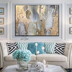 Home Decor Habitacion Abstract Oil Painting on CanvasLarge Wall Art Gold Leaf Wall Decor.Home Decor Habitacion Abstract Oil Painting on CanvasLarge Wall Art Gold Leaf Wall Decor Blue Wall Decor, Tv Wall Decor, Teal Living Rooms, Living Room Decor, Tv Wanddekor, Gold Leaf Art, Gold Wall Art, Gold Art, Extra Large Wall Art