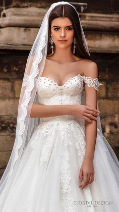 crystal design bridal 2016 off the shoulder sweetheart neckline bustier heavily embellished bodice princess a  line ball gown wedding dress chapel train (verona) zv