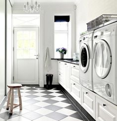 Classy laundry room update with first class finishing to make a functional room that looks elegant and stylish Image 31 Modern Interior Design, Interior Styling, Pantry Interior, Grey Floor Tiles, Small Pantry, Kitchen Small, Laundry Room Design, Laundry Rooms, Grey Kitchens