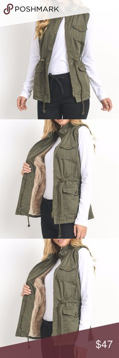 COMING SOON!!!! Olive green VEST COMING SOON !!!  comment down below to get notified..  Faux fur lined cotton twill. Hooded, zip and wind flap at front with snap fasteners. Side pockets and drawstring at waist.  Offers always welcome!! Jackets & Coats Vests