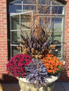 Fall planter with curly willow and thistle