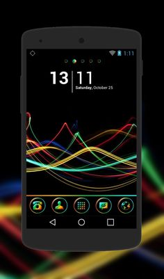 """Ocean Lights"" Android Theme. Free download  http://androidlooks.com/theme/t1007-ocean-lights/  #android, #androidthemes, #customization, #dark, #goLauncher"