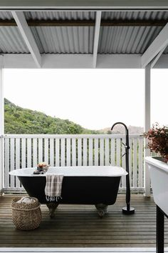 The outdoor claw-foot bath was a Gumtree find; the floor-mounted tap with hand shower is from Astra Walker. Kit Homes Australia, Recycled Brick, Relaxation Room, Australian Homes, Building A New Home, Small Apartments, Paris Apartments, Cheap Home Decor, House Colors