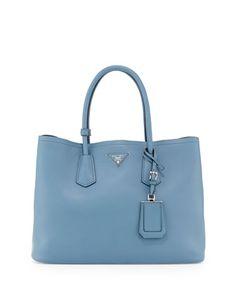 City Calf Double Bag, Denim Blue (Avio) by Prada at Neiman Marcus.