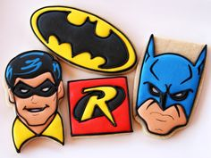 Batman and Robin Cookies by CaseysConfections on Etsy