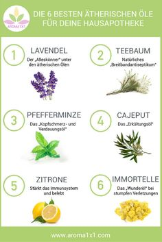 The 6 best essential oils for your medicine cabinet- Die 6 besten ätherischen Öle für deine Hausapotheke Essential oils are a valuable addition to any medicine cabinet. A very wide range of everyday complaints can be covered with just a few oils. Health Remedies, Home Remedies, Natural Remedies, Healthy Skin Tips, Best Essential Oils, Natural Medicine, Natural Healing, Medicine Cabinet, Health And Beauty