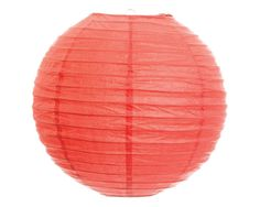 """One coral paper ribbed lantern (12""""). Lantern arrives flat with a wire frame, ready for easy assembly."""
