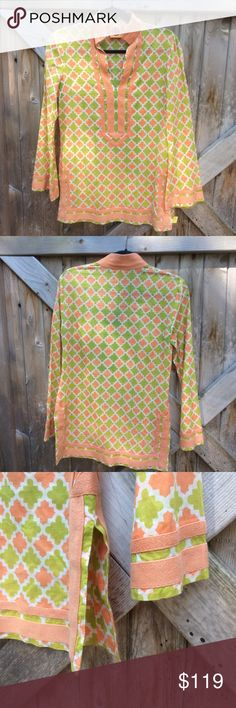 Tory Burch Tunic Perfect for summer.Very pretty top . I received compliments whenever I wore it.Light weight 100% cotton.Hidden side zip.Excellent used condition.Dry clean only Tory Burch Tops Tunics