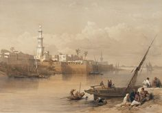 David Roberts RA (1796-1864) and Louis Haghe. View on the Nile - Ferry to Gizeh. #egypt