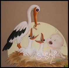 """geboortebord: """"ooievaar in nest""""  Geboorteborden door: saskiacreations.nl"""