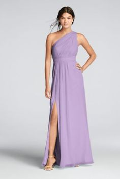 You'll love the feel of crinkle chiffon on this flowy floor-length bridesmaid dress with a one-shoulder neckline and an elegant skirt slit.   Crinkle chiffon dress features a one shoulder asymmetric neckline with keyhole detail.  Features a side slit for added movement.  Fully lined. Zipper Back. Imported polyester. Dry clean only.  Also available in Extra Length sizes as Style 4XLF18055.