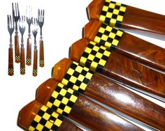 Checkerboard Bakelite Pastry Forks.  Set of Six Forks. by decotini