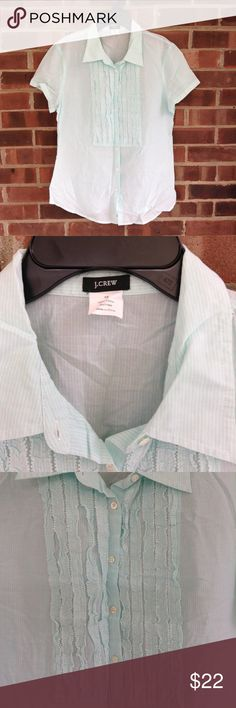 NWOT J. Crew pastel baby blue short sleeve top 10 Like new condition J. Crew 100% cotton short-sleeve top, very light weight, pastel baby blue color, with small ruffles below neckline. Sz 10. Smoke and pet free home, fast shipping. J. Crew Tops Blouses