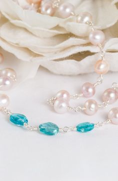 Pacific Star – Freshwater Pearls and Apatite Necklace
