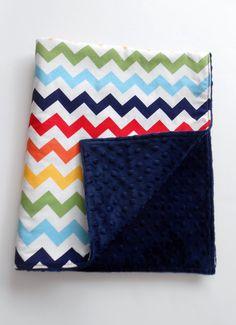 Minky Rainbow Chevron Blanket Quilt Riley by KristensCoverlets