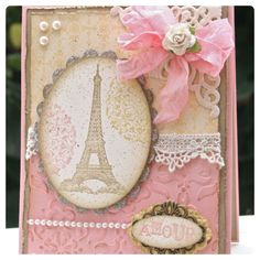 Paris homemade card. Pink and Girly. DIY cards. Crafts.