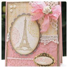 Paris homemade card. Pink and Girly. DIY cards. Crafts.