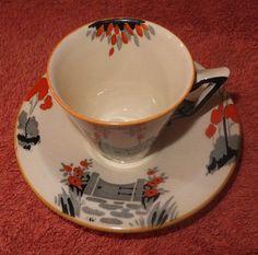 "Burleigh Ware Art Deco Coffee Cup And Saucer ""Garden Gate""Pattern Coffee Cups And Saucers, Cup And Saucer, Tea Cups, Garden Gates, Vintage China, Art Deco, Clay, Ceramics, Crystals"