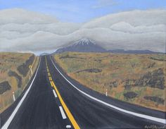 Road Trip, Desert Road, Mount Ngaruhuoe acrylic on canvas 45cm x 35cm