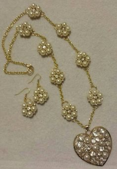 Use coupon code State2State for 25% off. Offer expires April 20, 2016 https://www.etsy.com/listing/265757942/gold-heart-and-pearls-necklace-set