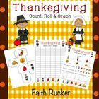 FREEBIE!!!  Thanksgiving Count, Roll &  Graph. (counting, least, most, and ordering least to greatest) Kindergarten Faith