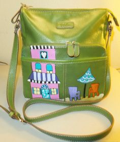 Unusual handpainted green shoulder bag purse marked Relic