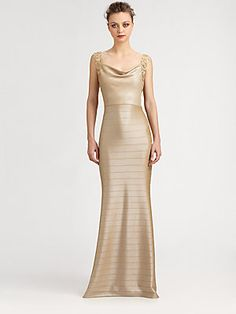 Kay Unger Banded Lace-Trimmed Gown