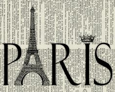 Paris   printed on page from old dictionary by FauxKiss on Etsy,