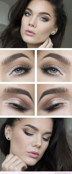 As basic as you can go for eyes. Make sure if you use a color near your tear duct it is matte.