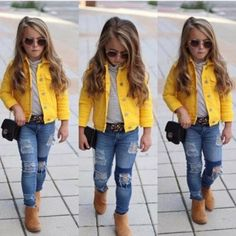 Denim Jacket Stand out in the crowd in this Yellow Denim Jacket. Yellow Denim Jacket Stand out in the crowd in this Yellow Denim Jacket., Yellow Denim Jacket Stand out in the crowd in this Yellow Denim Jacket. Cute Little Girls Outfits, Girls Fall Outfits, Little Girl Fashion, Girls Fashion Kids, Little Girl Style, Fashionable Little Girls, Summer Outfits, Toddler Girl Style, Toddler Girl Outfits