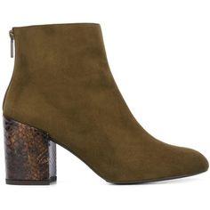 Stuart Weitzman 'Bacari' boots ($512) ❤ liked on Polyvore featuring shoes, boots, green, stuart weitzman boots, leather boots, genuine leather shoes, real leather boots and real leather shoes